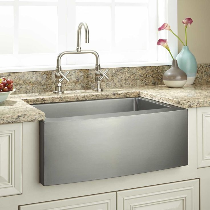 """24"""" Optimum Stainless Steel Farmhouse Sink - Curved Front"""