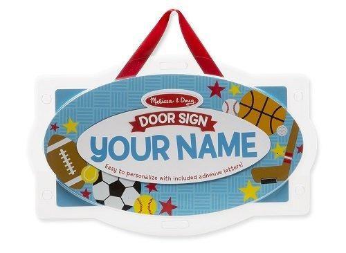 Melissa & Doug - Wooden Door Plaque: Sports Personalized Name Door Sign