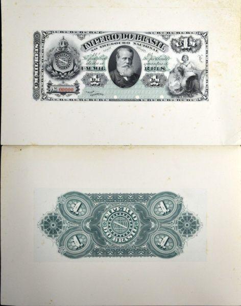 Cédula do Brasil, 1 mil reis Império, RARA, prova de frente e verso colada em papel cartão, flor de