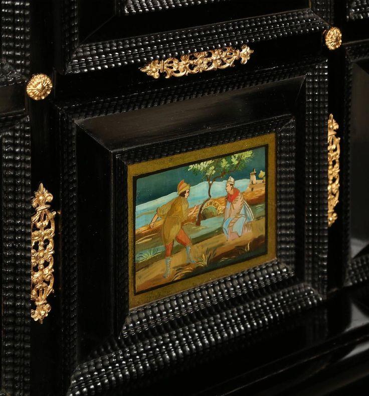 Итальянский 18 век Людовика XIV негр и обратного окрашенный стеклянный шкаф на стенд 9