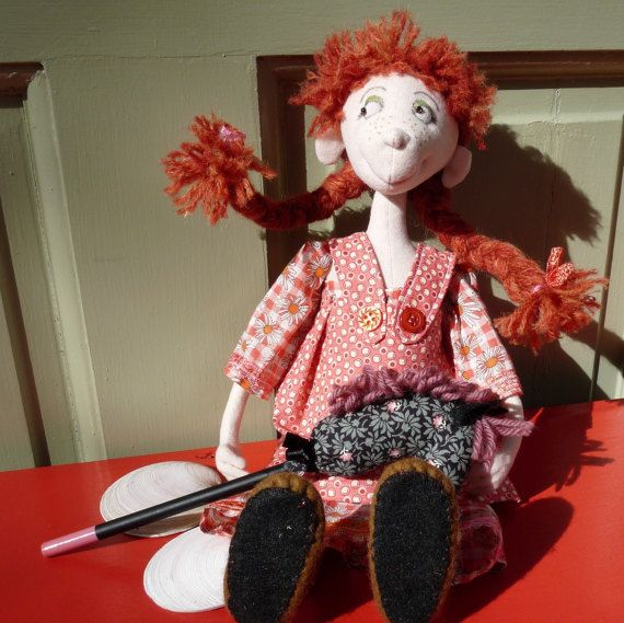 Cloth Art Doll Pipi OOAK by KakahiCraft on Etsy