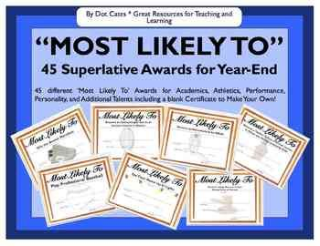 Most Likely To awards! Could easily make my own and customize them so each client has one to take home! Good for self esteem and individuality lesson