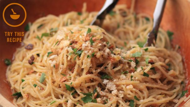 Watch This --> Cook This! Spaghetti with Toasted Breadcrumbs & Oregano
