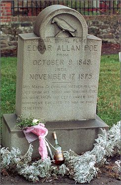"""An unknown visitor affectionately referred to as the """"Poe Toaster"""" paid homage to Poe's grave annually beginning in 1949. As the tradition carried on for more than 60 years it is likely that the """"Poe Toaster"""" was actually several individuals, though the tribute was always the same. Every Jan.19 in the early hours of the morning the person made a toast of cognac to Poe's original grave marker & left three roses. The Poe Toaster's last appearance was on Jan.19, 2009 the day of Poe's…"""