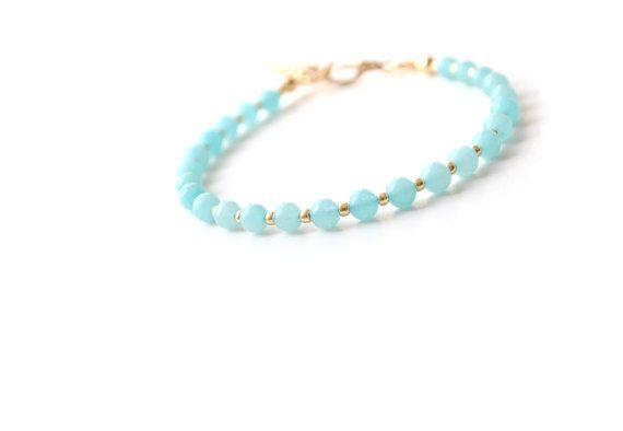 Light Blue Jade Gemstone Bracelet Pastel Blue and by elfinadesign