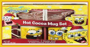 Spongebob Hot Cocoa Mug Set, 2 Mugs and Cocoa Mix Included