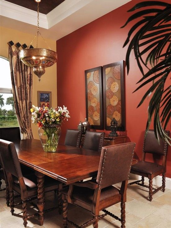 find this pin and more on decorcoloraccent walls moroccan dining room - Dining Room Red Paint Ideas