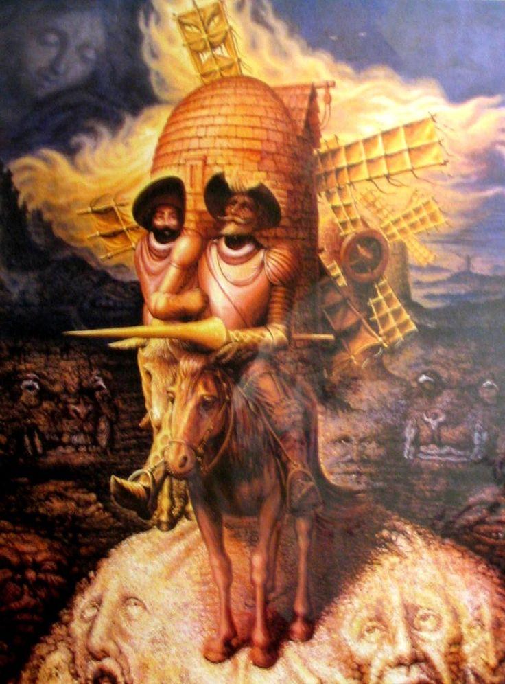 Visiones del Quijote (1989), de Octavio Ocampo (mexicain). Estilo metamórfico