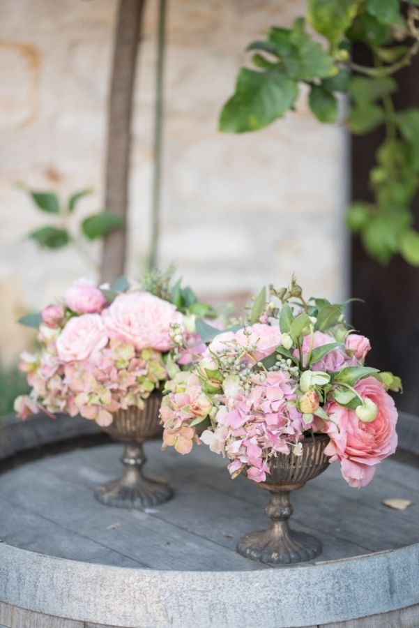 Hydrangea and rose wedding flowers: http://www.stylemepretty.com/california-weddings/carmel-valley/2016/11/18/three-ways-to-style-the-perfect-california-wedding/ Photography: Rahel Menig - http://www.rahelmenigphotography.com/