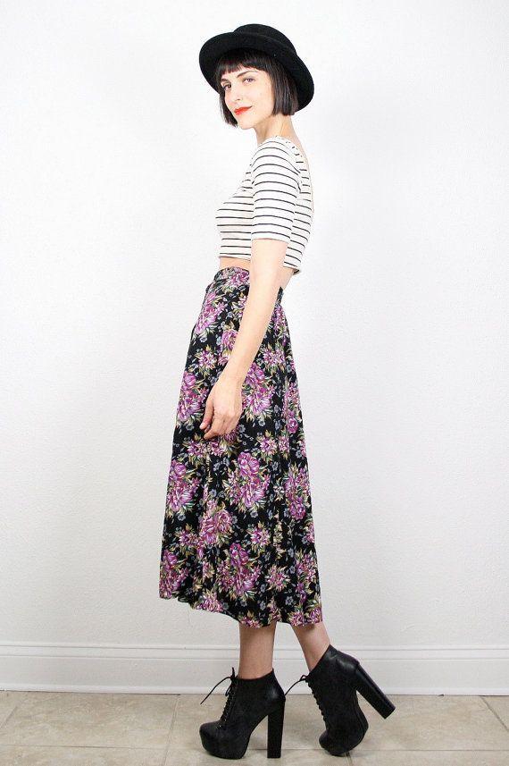 Vintage 90s Skirt Midi Skirt Grunge Skirt