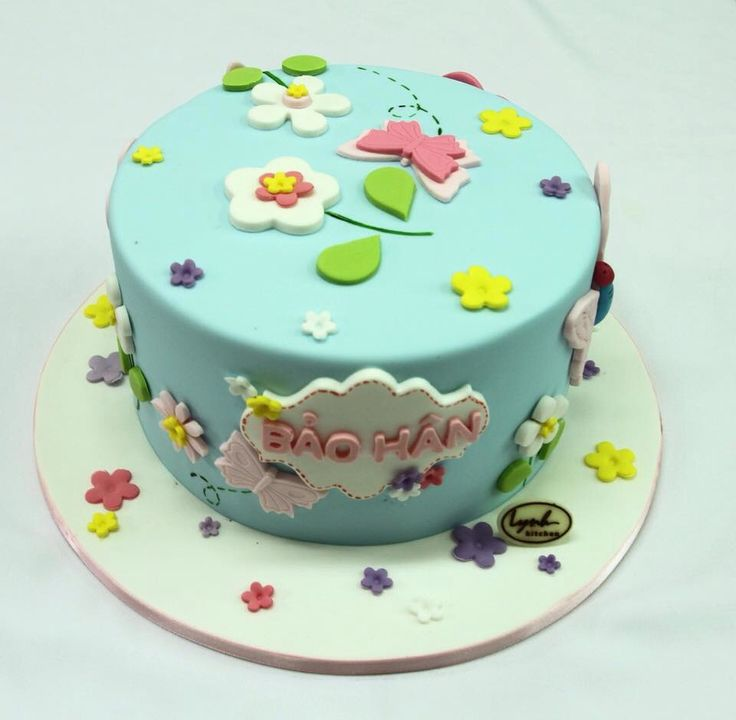 Flower Butterfly Girl Birthday Cake top view