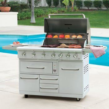 NXR Stainless Steel 7burner 80000btu Propane Gas Grill Integrated Ice Chest and Grill Cover * You can find out more details at the link of the image.