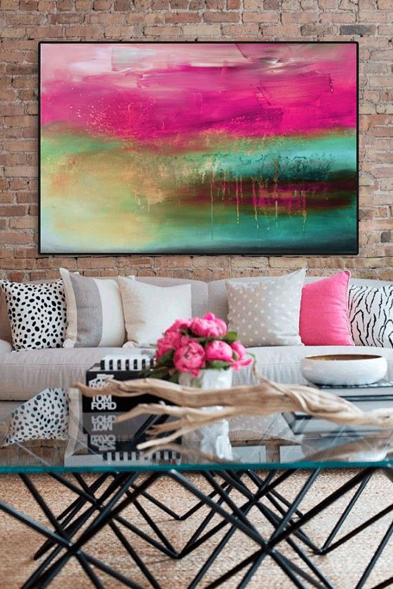 Abstract Painting Pink Blue Painting Large Abstract...I love the pop of fuchsia
