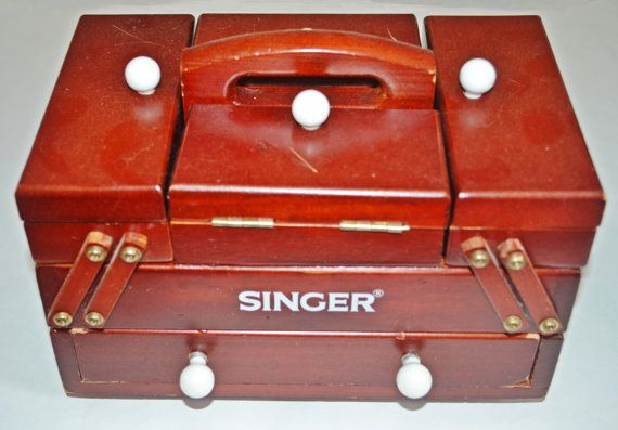 Singer Accordian Style Sewing Box Wood Sewing by Collectitorium