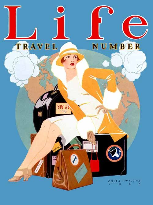 """Life magazine """"Travel Number"""" (1927), cover art by C. Phillips. #vintage #1920s #travel"""