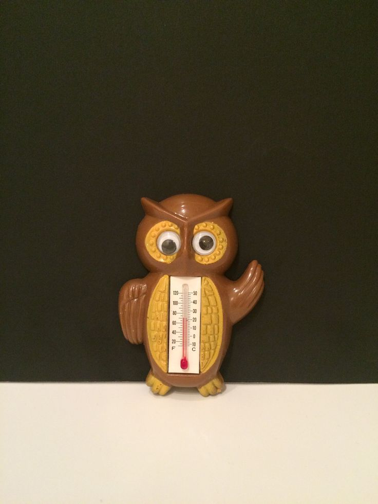 "Plastic Owl Thermometer w googly eyes 3.5"" tall Made in Hong Kong"