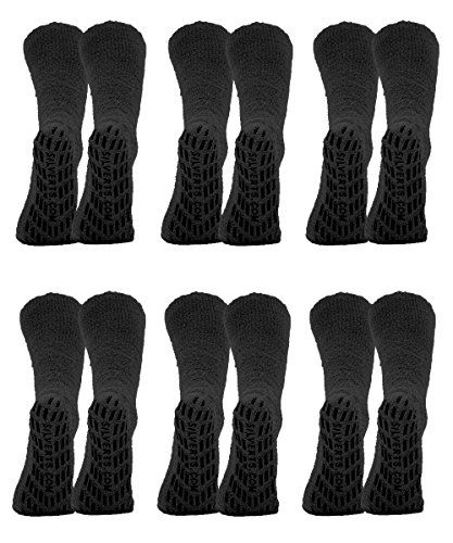 Non Skid Socks - Hospital Socks - 6 Pack - Black Pack X-Large:   The Best Irresistible skid and slip resistant hospital socks for adults with treads or grips (gripper socks)! Extra Comfy UNISEX Hospital Mens slipper socks & Womens slipper socks in feather-soft polyester chenille. These rubber gripper socks for adults are offered in Regular Size & XL Size. Skid resistant and slip resistant treads for safer wheelchair transfer. No inside back seam to cause heel skin issues. Nonskid socks...