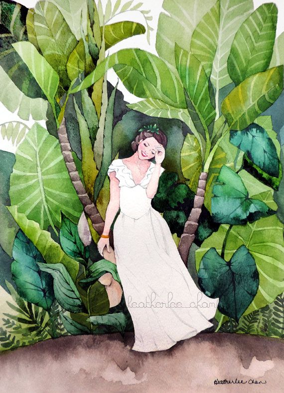 Tropical Travel Girl - Watercolor Painting Art Print |  by Heatherlee Chan | Lady Poppins