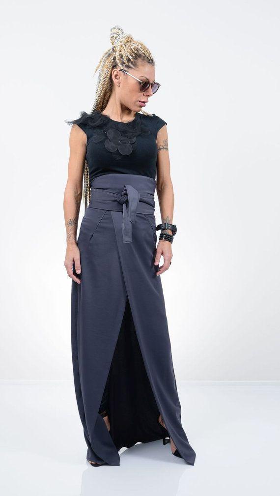 Long high waist skirt / Grey long skirt by ClothesByLockerRoom