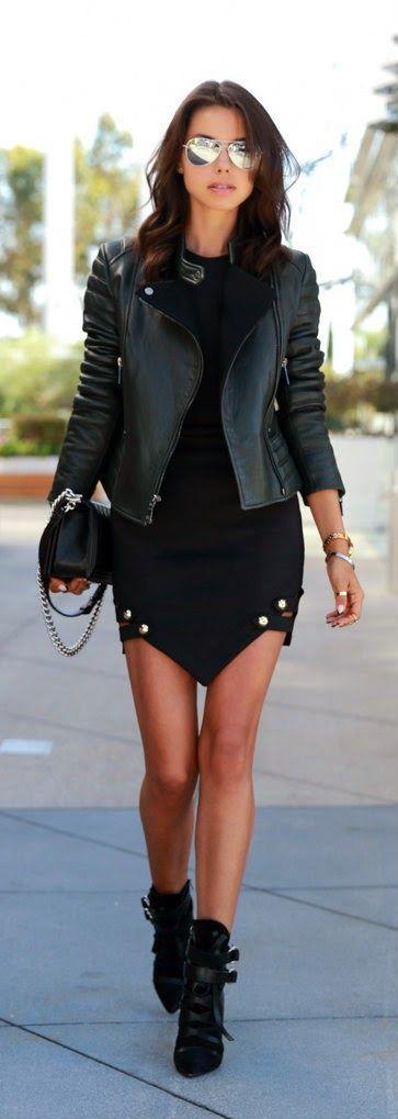 Black Leather Jacket With Modern Shorts and Handbag by VivaLuxury Fashion