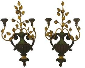 Pr of Italian Palladio Antique Wood & Iron Sconces - Traditional Decorative Objects - Dering Hall