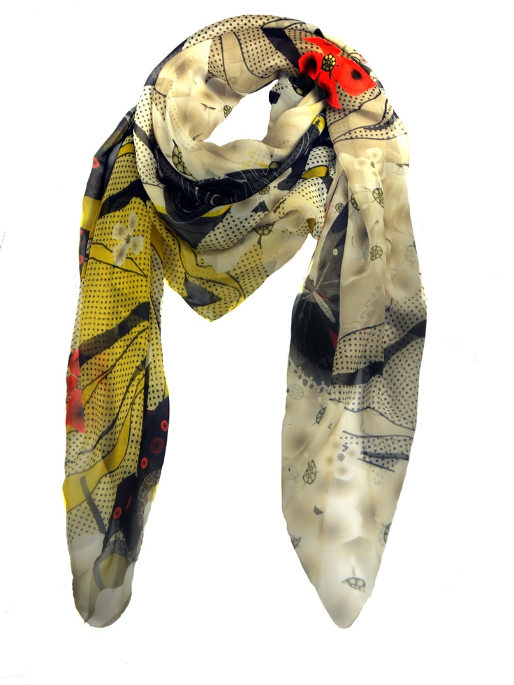 Modern Love Silk Georgette Scarf in Oriental Garden Perfect for Spring!