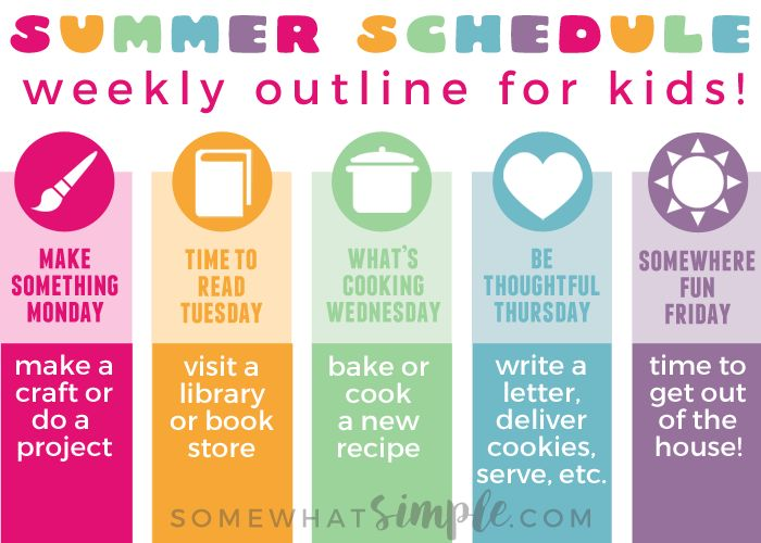 Organize your summer with this summer schedule for kids