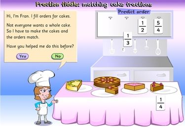 Fraction fiddle: matching cake fractions