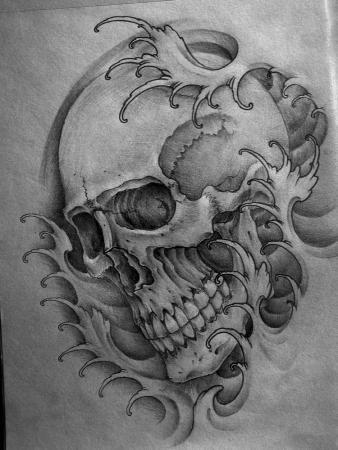 Skull Japanese Waves  Ink Trails Tattoo Forum