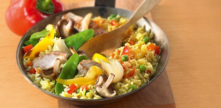 Gemüse-Reis mit Schnitzelstreifen