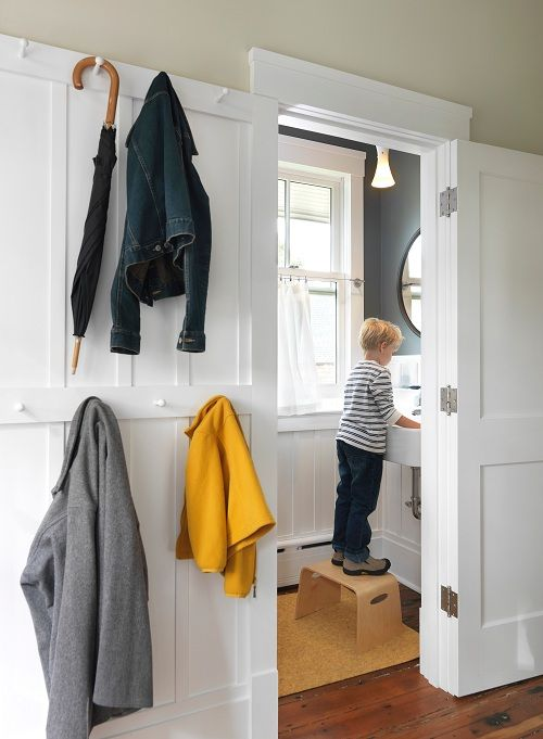 Living With Kids - Cory Kallfelz // Design Mom: Coats Hooks, Modern Bathroom Design, Command Hooks, Design Mom, Mud Rooms, Laundry Rooms, Bathroom Interiors Design, Powder Rooms, Design Bathroom