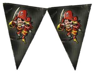 Super leuke vlaglijn met een stoere piraat er op. De vlaglijn is 6 meter lang en is van plastic en dus herbruikbaar! De bedrukking is enkelzijdig.  Combineer deze leuke vlaglijn met mooie piraten ballonnen, ooglapjes, zwaardprikkertjes of zelfs een gave piraat Pinata!