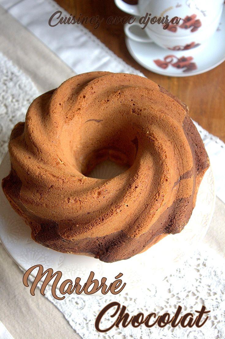 Cake marbré vanille chocolat en poudre