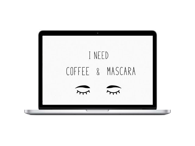 Free download, free desktop wallpaper, i need coffee and mascara, morning quote, cute wallpaper, freebie, graphic design, free art, free print, design love fest dress your tech, computer art via oraneboucher.com