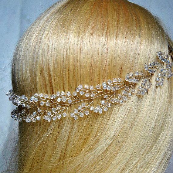 Beautiful shiny bridal hair vine will underline the beauty of your winter weddin…