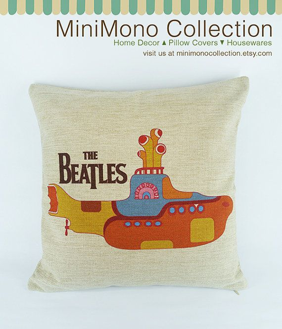 """Yellow Submarine Linen Cotton Pillow Cover - Throw Pillow - A 1966 song by The Beatles - 17"""" x 17"""" on Etsy, $19.90"""