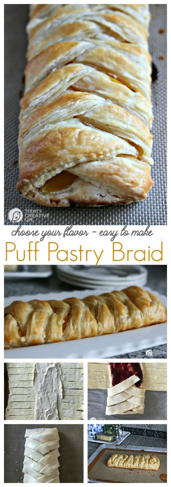 Puff Pastry Braid | This easy puff pastry braid danish can be made in any flavor. Perfect for Easter brunch, or breakfast. Step by Step instructions. Click on the photo for the recipe. TodaysCreativeLife.com