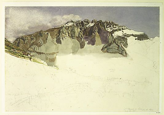 Mountainous Landscape in Italy : Il Resegone Frank Randal (active 1881–1894) Former Attribution: John Ruskin (British, London 1819–1900 Brantwood, Cumbria) Date: 1885 Medium: Watercolor over pencil