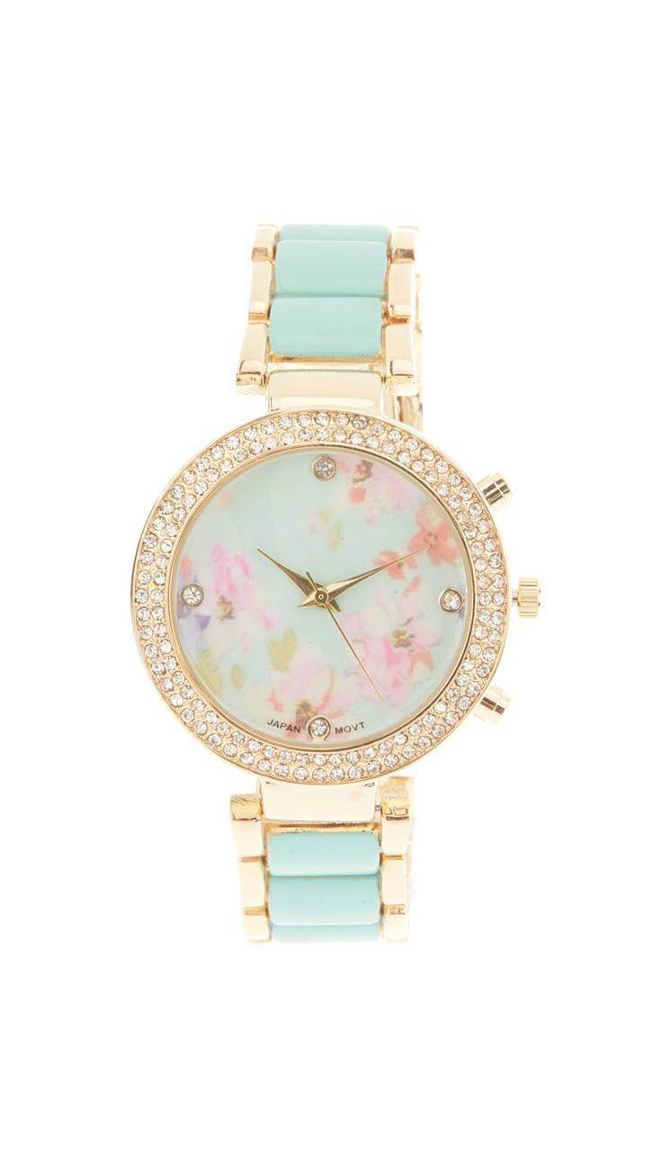 Geneva Platinum Mint Floral Bracelet Watch