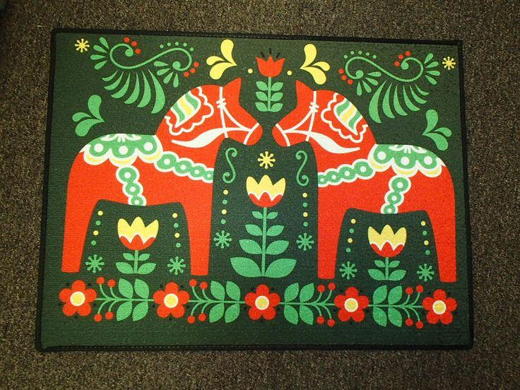 Scandinavian Swedish Dala Horses  Rug ~  Door Mat by GiftChaletAuburn on Etsy https://www.etsy.com/listing/192521099/scandinavian-swedish-dala-horses-rug
