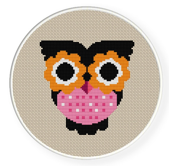 Buy 4 get 1 free ,Buy 6 get 2 free,Cross stitch pattern, PDF,owl,ZXXC0063. $4.50, via Etsy.