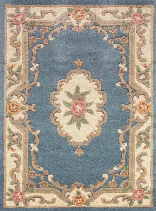 Lotus Premium Aubusson Blue Rug Traditional Rugs For