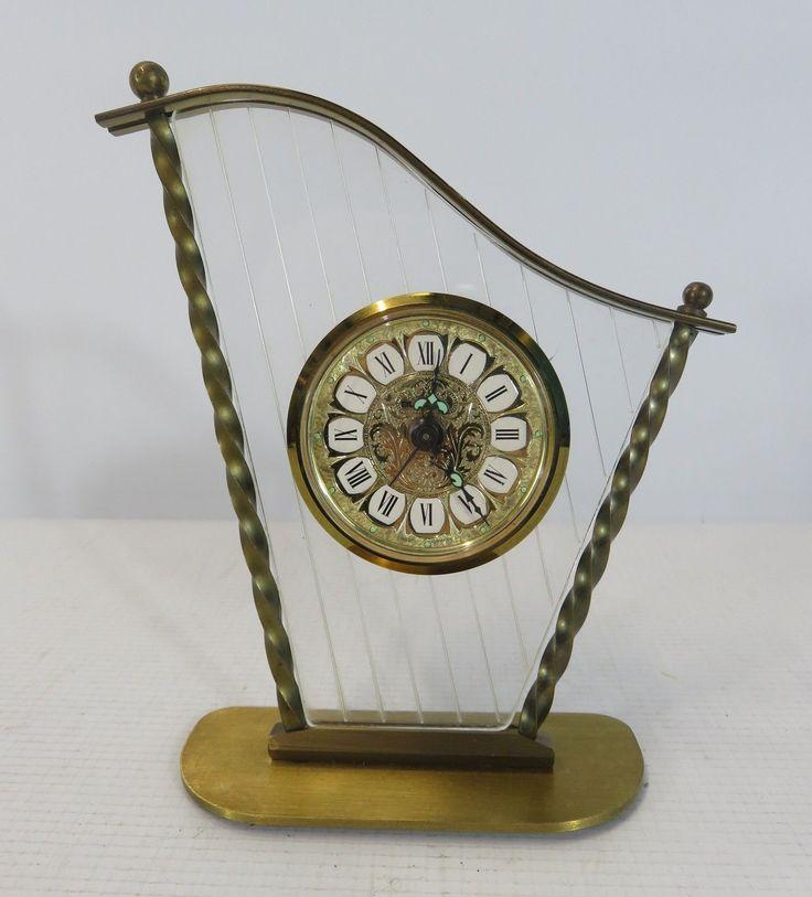 Blessing West Germany Brass Harp Shaped Wind Up Analogue Alarm Clock   eBay