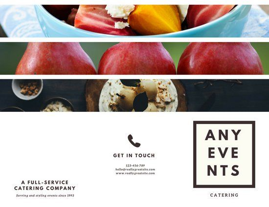 White and Brown Minimalist Photo Grid Food Catering Trifold Brochure
