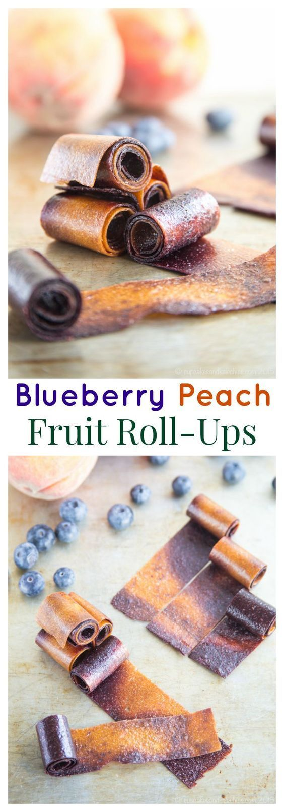Blueberry Peach Fruit Roll-Ups swirl together two favorite summer fruits into one sweet and healthy snack perfect to pack in a lunchbox. #SundaySupper | http://cupcakesandkalechips.com | gluten free, vegan, paleo recipe