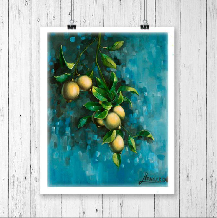 "Kitchen art ""Bunch of lemons"", giclee print by Lena Navarro"