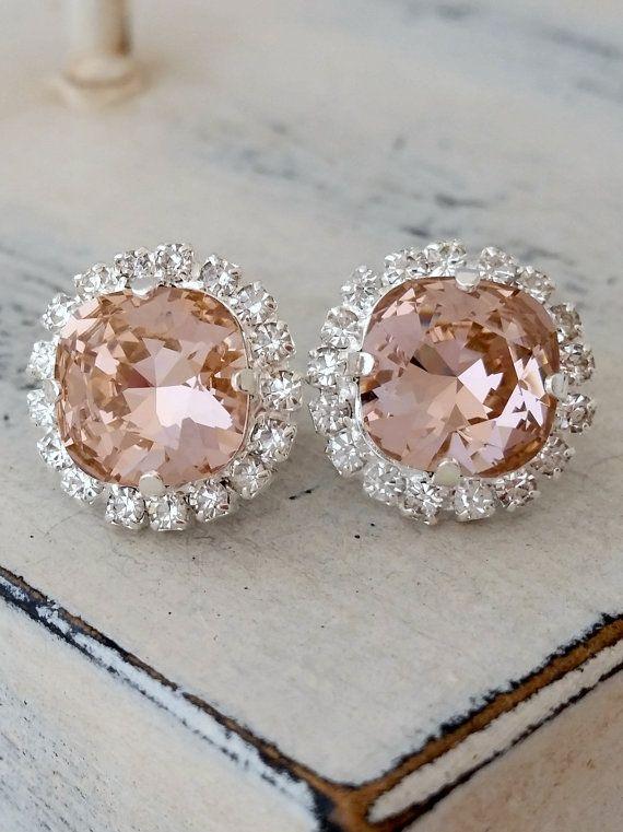 Fard à joues de cristal Rose boucles doreilles, boucles doreilles mariée Blush, cadeaux de demoiselle dhonneur, vintage rose, les boucles
