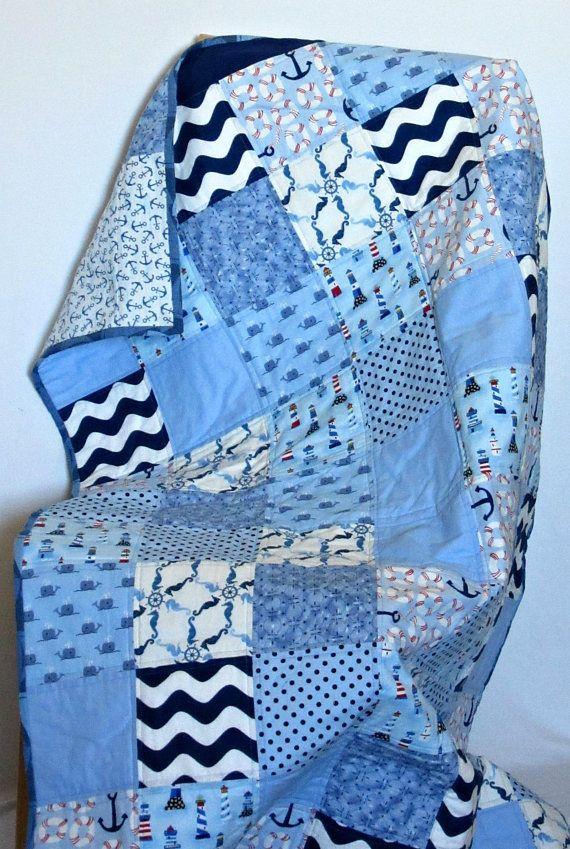 3976c8cf78fd4 Nautical baby quilt/ Ocean nursery/ Gender neutral baby/ Patchwork ...