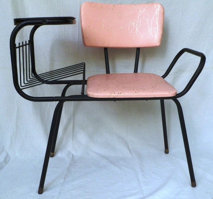 Fabulous pink and gold vintage phone chair1950s. Love it!!