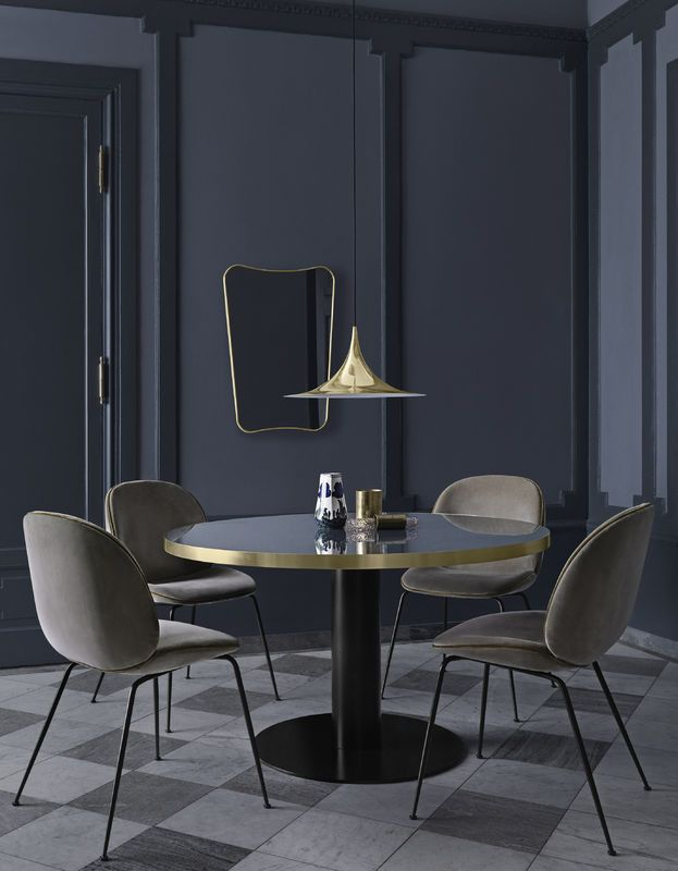 GUBI // 2.0 Table, Beetle Dining chairs, Semi Pendat & F.A. 33 mirror